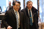General David Petraeus (r), Former Director of the Central Intelligence Agency, is seen arriving in the lobby of the Trump Tower in New York, New York, on November 28, 2016. <br /> Credit: Anthony Behar / Pool via CNP