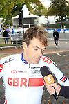 Alex Dowsett (GBR) after finishing his run during the Men Elite Individual Time Trial of the UCI World Championships 2019 running 54km from Northallerton to Harrogate, England. 25th September 2019.<br /> Picture: Andy Brady | Cyclefile<br /> <br /> All photos usage must carry mandatory copyright credit (© Cyclefile | Andy Brady)