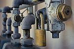 Detail of padlock and gas pipes, San Francisco, California