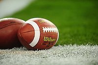 Jan 10, 2011; Glendale, AZ, USA; Footballs are seen on the field before the 2011 BCS National Championship game between the Oregon Ducks and the Auburn Tigers at University of Phoenix Stadium.  Mandatory Credit: Mark J. Rebilas-