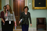 United States Senator Susan Collins (Republican of Maine) walks to a meeting at the United States Capitol in Washington D.C., U.S. on Tuesday, March 24, 2020.  The Senate is working to finalize a deal on the Coronavirus Stimulus Package, after it was blocked by Senate Democrats two days in a row.  Credit: Stefani Reynolds / CNP/AdMedia