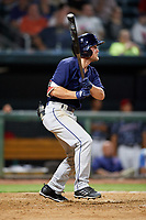 Mobile BayBears center fielder Brennon Lund (8) follows through on a swing during a game against the Jacksonville Jumbo Shrimp on April 14, 2018 at Baseball Grounds of Jacksonville in Jacksonville, Florida.  Mobile defeated Jacksonville 13-3.  (Mike Janes/Four Seam Images)