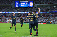 during the UEFA Champions League Group stage match Celebrations following the first Monaco goal between Tottenham Hotspur and Monaco at White Hart Lane, London, England on 14 September 2016. Photo by Andy Rowland.