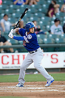 Oklahoma City Dodgers second baseman Darwin Barney (12) at bat during the Pacific Coast League baseball game against the Round Rock Express on June 9, 2015 at the Dell Diamond in Round Rock, Texas. The Dodgers defeated the Express 6-3. (Andrew Woolley/Four Seam Images)