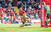 Picture by Allan McKenzie/SWpix.com - 22/04/2018 - Rugby League - Ladbrokes Challenge Cup - York City Knight v Catalans Dragons - Bootham Crescent, York, England - York's Joe Porter scores his second try against Catalans.