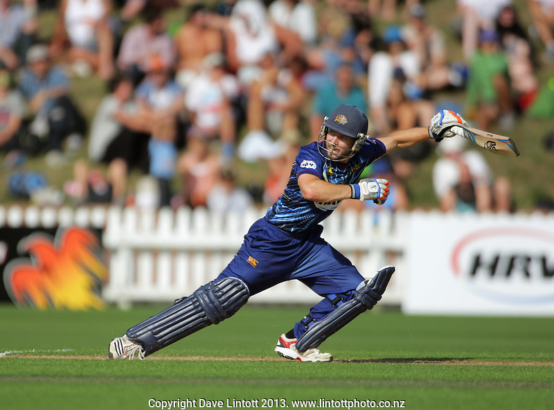 Derek de Boorder in action during the HRV Cup Twenty20 cricket match between the Wellington Firebirds and Otago Volts at Hawkins Finance Basin Reserve, Wellington, New Zealand on Friday, 11 January 2013. Photo: Dave Lintott / lintottphoto.co.nz