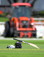 Wellington's Devon Conway's bat and helmet during day two of the Plunket Shield cricket match between the Wellington Firebirds and Otago Volts at the Basin Reserve in Wellington, New Zealand on Tuesday, 22 October 2019. Photo: Dave Lintott / lintottphoto.co.nz