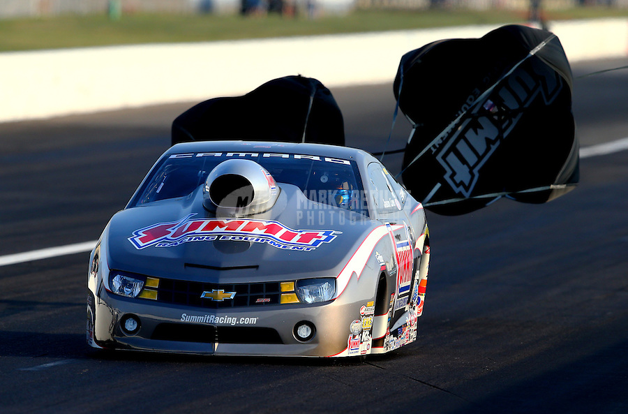 Aug. 30, 2013; Clermont, IN, USA: NHRA pro stock driver Greg Anderson during qualifying for the US Nationals at Lucas Oil Raceway. Mandatory Credit: Mark J. Rebilas-