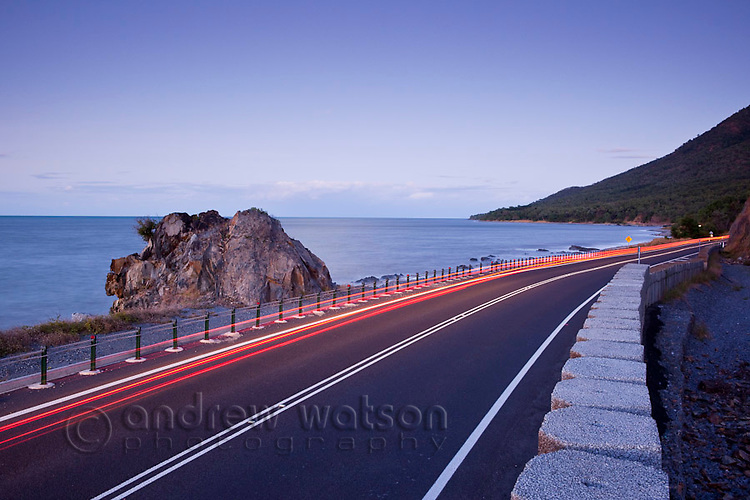 Car light trails on the Captain Cook Highway between Port Douglas and Cairns, Queensland, Australia