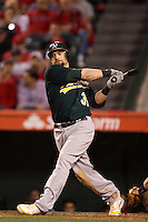 Jonny Gomes #31 of the Oakland Athletics bats against the Los Angeles Angels at Angel Stadium on April 19, 2012 in Anaheim,California. Oakland defeated Los Angeles 4-2.(Larry Goren/Four Seam Images)