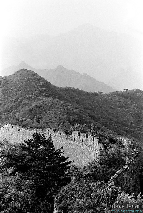 The Great Wall of China winds across the mountaintops at Huang-Hua, just outside Beijing, China.