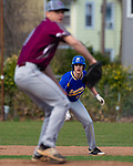 SEYMOUR,  CT-041019JS08-  Seymour's Dan Manente (15) looks on from second base as Naugatuck's Nate Deptula goes into his wind up during their game Wednesday at French Memorial Park in Seymour. <br /> Jim Shannon Republican American