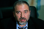 Israeli parliament member Avigdor Lieberman, who heads the ultra-nationalist Yisrael Beiteinu faction, speaks during a meeting at his party's offices in Jerusalem, Tuesday, March 17, 2009. On Monday, Benjamin Netanyahu's Likud party initialed a coalition agreement with Yisrael Beiteinu faction, a tentative step that leaves open the possibility of changes if other parties join. Lieberman, who heads the party, has drawn accusations of racism for a plan that would require Arab citizens of Israel to sign loyalty oaths or lose their citizenship. The coalition agreement would see Lieberman become foreign minister. Photo by: Daniel Bar-On/JINI...