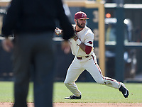 NWA Democrat-Gazette/CHARLIE KAIJO Arkansas Razorbacks infielder Jack Kenley (7) throws during a baseball game, Sunday, March 17, 2019 at Baum-Walker Stadium in Fayetteville.