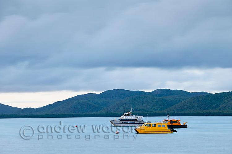 Boats moored in Ellis Channel.  Thursday Island, Torres Strait Islands, Queensland, Australia