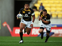 Wellington winger David Smith takes off with Shaun Treeby in support. Air NZ Cup - Wellington Lions v Manawatu Turbos at Westpac Stadium, Wellington, New Zealand. Saturday 3 October 2009. Photo: Dave Lintott / lintottphoto.co.nz