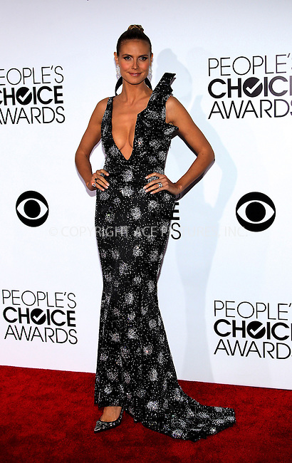 WWW.ACEPIXS.COM<br /> <br /> January 8 2014, LA<br /> <br /> Heidi Klum arriving at the 40th Annual People's Choice Awards at the Nokia Theatre LA Live on January 8, 2014 in Los Angeles, California<br /> <br /> By Line: Nancy Rivera/ACE Pictures<br /> <br /> <br /> ACE Pictures, Inc.<br /> tel: 646 769 0430<br /> Email: info@acepixs.com<br /> www.acepixs.com