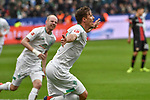 17.03.2019, BayArena, Leverkusen, GER, DFL, 1. BL, Bayer 04 Leverkusen vs SV Werder Bremen, DFL regulations prohibit any use of photographs as image sequences and/or quasi-video<br /> <br /> im Bild Max Kruse (#10, SV Werder Bremen) jubelt nach seinem Tor zum 0:1<br /> <br /> Foto © nph/Mauelshagen