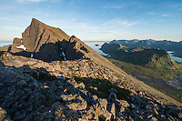 View along rocky ridge towards Stortind from Moltind, Flakstadøy, Lofoten Islands, Norway