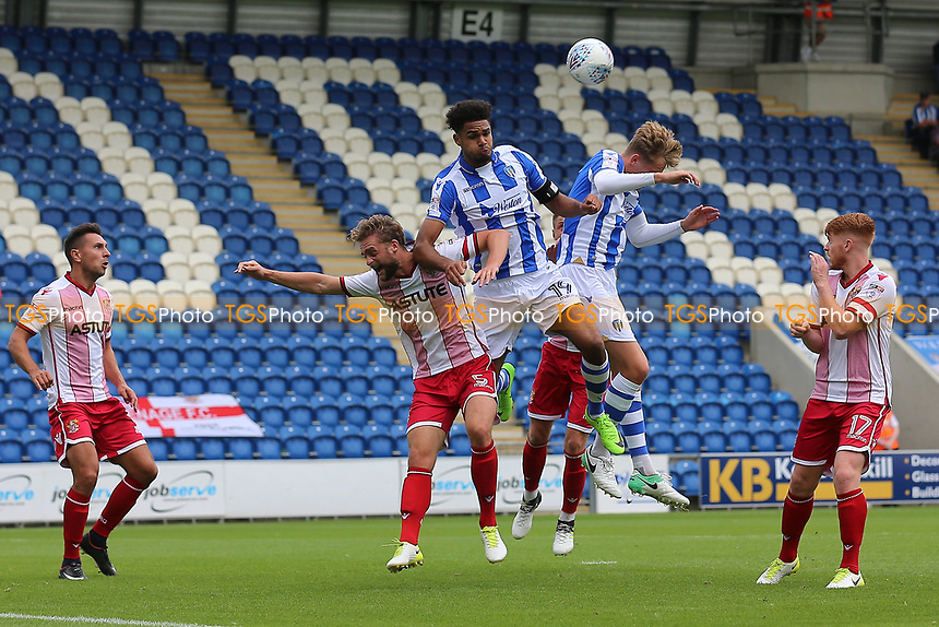 Fraser Franks of Stevenage rises with Mikael Mandron of Colchester United during Colchester United vs Stevenage, Sky Bet EFL League 2 Football at the Weston Homes Community Stadium on 12th August 2017