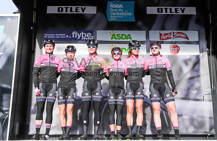 Picture by Simon Wilkinson/SWpix.com - 30/04/2016 - Cycling - 2016 Asda Women's Tour de Yorkshire: Otley to Doncaster - Yorkshire, England - Team Podium Ambition are introduced.