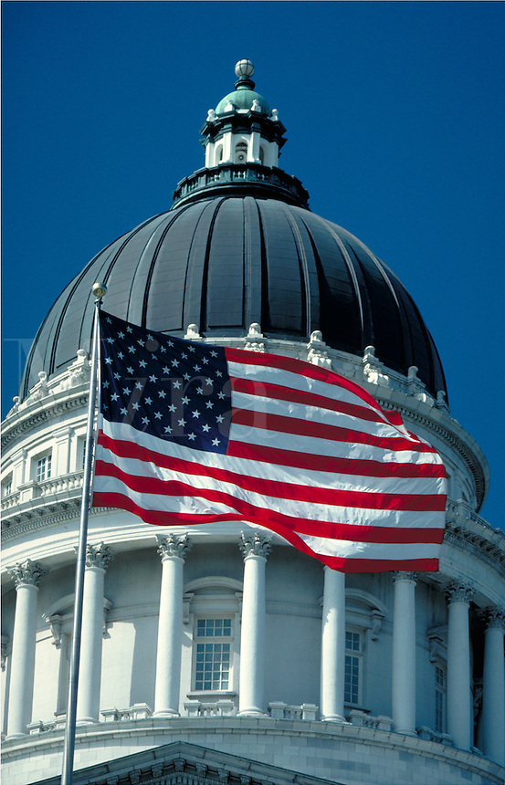 Utah State Capitol Dome and American Flag, government offices, architecture,. Salt Lake City Utah.