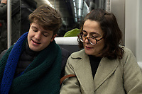 Lucas and Annuska in the metro. New Years with the Angulos, Bilbao, Spain