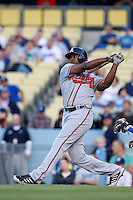 Justin Upton #23 of the Atlanta Braves bats against the Los Angeles Dodgers at Dodger Stadium on June 6, 2013 in Los Angeles, California. (Larry Goren/Four Seam Images)