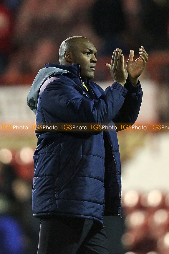 Staines Town manager Marcus Gayle thanks the travelling fans - Brentford vs Staines Town - FA Challenge Cup 1st Round Proper Round Football at Griffin Park, London - 09/11/13 - MANDATORY CREDIT: Gavin Ellis/TGSPHOTO - Self billing applies where appropriate - 0845 094 6026 - contact@tgsphoto.co.uk - NO UNPAID USE