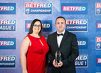 Picture by Allan McKenzie/SWpix.com - 25/09/2018 - Rugby League - Betfred Championship & League 1 Awards Dinner 2018 - The Principal Manchester- Manchester, England - Natalie Hudson with Ben Moorehouse.