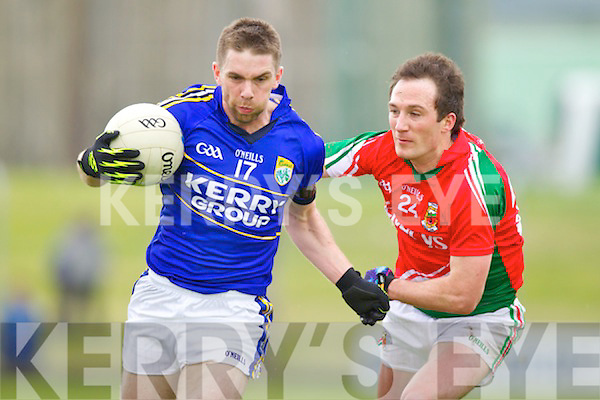 Marc O'Se Kerry in action against Alan Dillon Mayo in the National Football League in Austin Stack Park on Sunday..