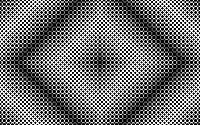 Monochrome abstract pattern of rows of varying width disks