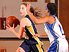 Danielle Pavinelli #20 of Northport, left, looks to pass away from Nylasia Bunn #1 of Copiague during a Suffolk County League II varsity girls' basketball game at Copiague High School on Thursday, Jan. 28, 2016. Copiague won by a score of 59-52.