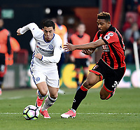 Bournemouth's Jordon Ibe (R) vies for possession with Chelsea's Eden Hazard (L)<br /> <br /> Bournemouth 1 - Chelsea 3<br /> <br /> Photographer David Horton/CameraSport<br /> <br /> The Premier League - Bournemouth v Chelsea - Saturday 8th April 2017 - Vitality Stadium - Bournemouth<br /> <br /> World Copyright &copy; 2017 CameraSport. All rights reserved. 43 Linden Ave. Countesthorpe. Leicester. England. LE8 5PG - Tel: +44 (0) 116 277 4147 - admin@camerasport.com - www.camerasport.com