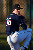 UConn Huskies starting pitcher Tim Cate (36) warms up in the bullpen before a game against the USF Bulls on March 23, 2018 at USF Baseball Stadium in Tampa, Florida.  UConn defeated USF 6-4.  (Mike Janes/Four Seam Images)
