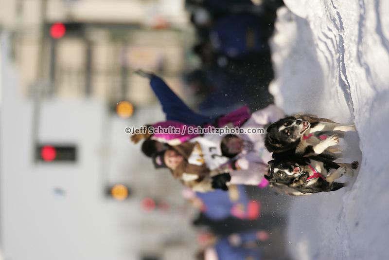 March 3, 2007   DeeDee Jonrowe during the Iditarod ceremonial start day in Anchorage
