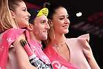 Race leader Simon Yates (GBR) Mitchelton-Scott retains the Maglia Rosa on the podium at the end of Stage 7 of the 2018 Giro d'Italia, a flat stage running 159km from Pizzo to Praia a Mare, Italy. 11th May 2018.<br /> Picture: LaPresse/Gian Mattia D'Alberto | Cyclefile<br /> <br /> <br /> All photos usage must carry mandatory copyright credit (&copy; Cyclefile | LaPresse/Gian Mattia D'Alberto)