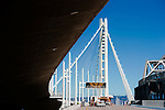 Temporary bicycle lanes are being prepped for installation from the Self Anchored Suspension span of the bay bridge to Treasure Island during the closure of the Bay Bridge. Labor day bridge closure Thursday August 29, Friday August, 30, 2013. With ACC road crews.