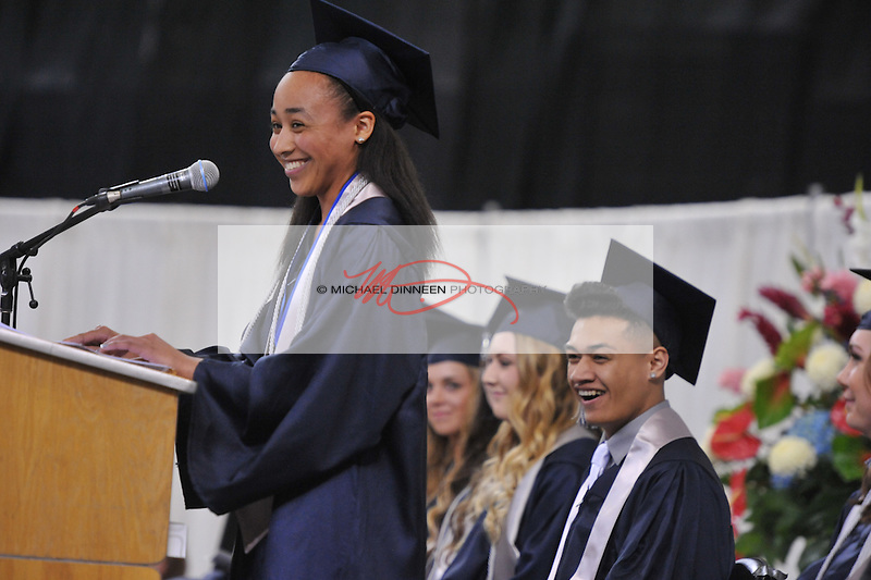 Valedictorian Alonna Walker stikes a humorous chord at the Eagle River High School commencement Monday May 9, 2016.  Photo for the Star by Michael DInneen