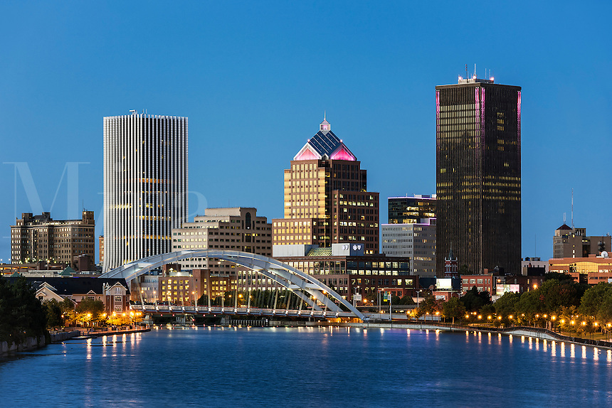 City skyline and the Genesee River, Rochester, New York, USA.