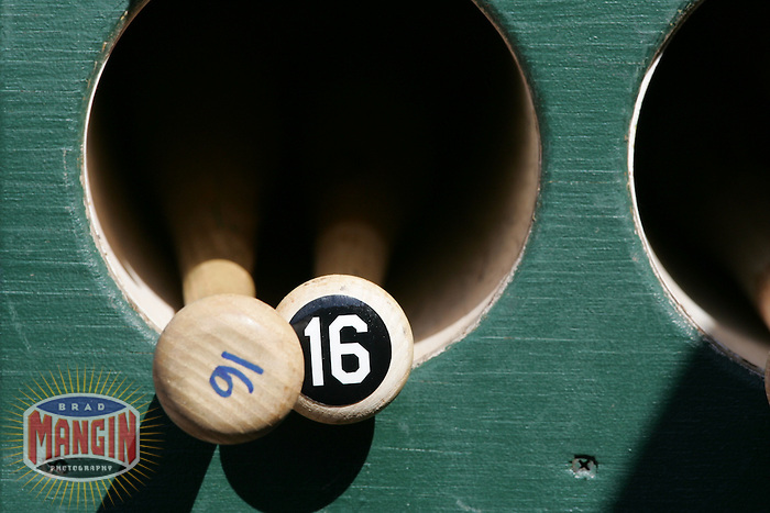 Bats in the bat rack. Baseball: Tampa Bay Devil Rays vs Oakland Athletics. Oakland, CA 5/30/2005 MANDATORY CREDIT: Brad Mangin