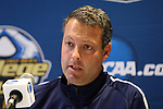 08 December 2012: Georgetown head coach Brian Wiese. The Georgetown University Hoyas held a press conference at Regions Park Stadium in Hoover, Alabama one day before playing in the 2012 NCAA Division I Men's Soccer College Cup championship game.