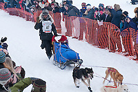 Musher # 47 Lance Mackey at the Restart of the 2009 Iditarod in Willow Alaska