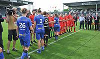 20180526 - Eupen , BELGIUM : Genk's and Standard's players shaking hands pictured after  the final of Belgian cup 2018 , a soccer women game between KRC Genk Ladies and Standard Femina de Liege  , in the  Kehrweg stadion in Eupen , saturday 26 th May 2018 . PHOTO SPORTPIX.BE   DIRK VUYLSTEKE