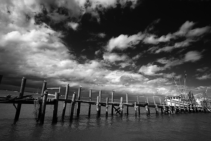 An old pier in Amelia Island, shot infrared.