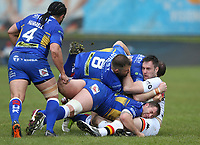 Bradford Bulls' James Green is tackled by Leeds Rhinos' Adam Cuthbertson, Trent Merrin and Cameron Smith <br /> <br /> Photographer Stephen White/CameraSport<br /> <br /> Rugby League - Coral Challenge Cup Sixth Round - Bradford Bulls v Leeds Rhinos - Saturday 11th May 2019 - Provident Stadium - Bradford<br /> <br /> World Copyright &copy; 2019 CameraSport. All rights reserved. 43 Linden Ave. Countesthorpe. Leicester. England. LE8 5PG - Tel: +44 (0 116 277 4147 - admin@camerasport.com - www.camerasport.com