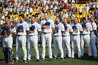 Florida lines up before their game against UCLA in Game 2 of the NCAA Division One Men's College World Series on Saturday June 19th, 2010 at Johnny Rosenblatt Stadium in Omaha, Nebraska.  (Photo by Andrew Woolley / Four Seam Images)