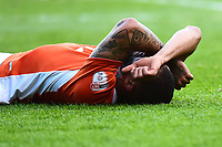 Blackpool's Kyle Vassell reacts to a missed chance<br /> <br /> Photographer Richard Martin-Roberts/CameraSport<br /> <br /> The EFL Sky Bet League Two Play-Off Semi Final First Leg - Blackpool v Luton Town - Sunday May 14th 2017 - Bloomfield Road - Blackpool<br /> <br /> World Copyright &copy; 2017 CameraSport. All rights reserved. 43 Linden Ave. Countesthorpe. Leicester. England. LE8 5PG - Tel: +44 (0) 116 277 4147 - admin@camerasport.com - www.camerasport.com