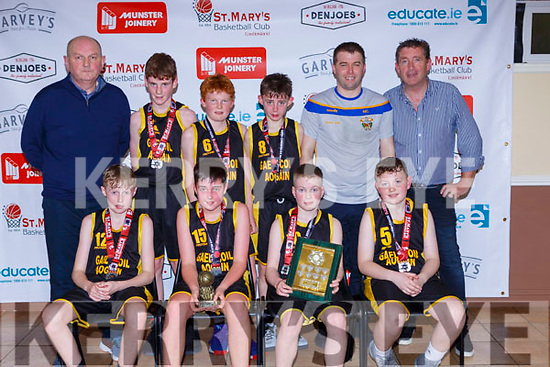 The GAelscoil Aogain team that defeated Holy Family Rathmore in the Senior NS Boys A final on Monday night front row l-r: Cillian Dennehy, Cillian Sullivan, Noah Fitzgerald, Mark Curtin. Back row Denny porter, Tomas Jones, Pat Brosnan, Isaac Brosnan Micheal Cahill and Tomas O'Connor Principal
