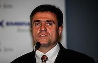 SAO PAULO, SP, 13 DE AGOSTO 2012 - LABACE - Marco Tulio Pelegrini Vice presidente de operacoes da Embraer durante coletiva de abertura da Labace (Feira de aviacao executiva) na tarde dessa segunda-feira, 13 no aeroporto de Congonhas regiao sul da capital paulista. FOTO: VANESSA CARVALHO - BRAZIL PHOTO PRESS.